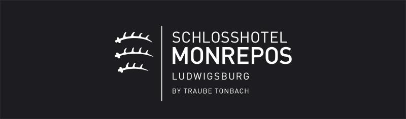 Logo Schlosshotel Monrepos auf schwarzem Hintergrund